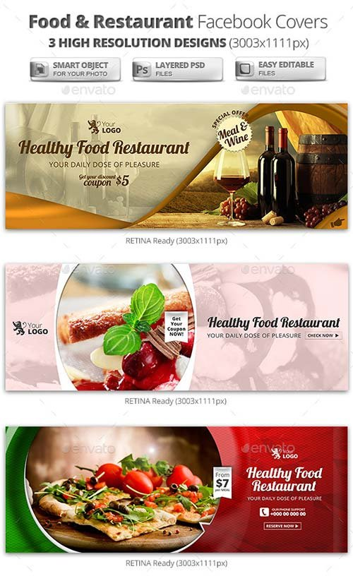 GraphicRiver Food & Restaurant Campaign Facebook Covers