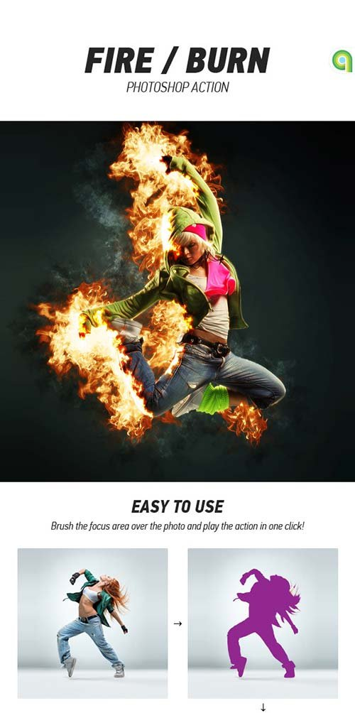 GraphicRiver Fire / Burn Photoshop Action
