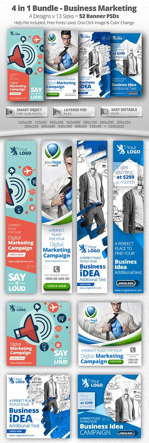 GraphicRiver 52 Business Marketing Web Banners - 4 in 1 Bundle