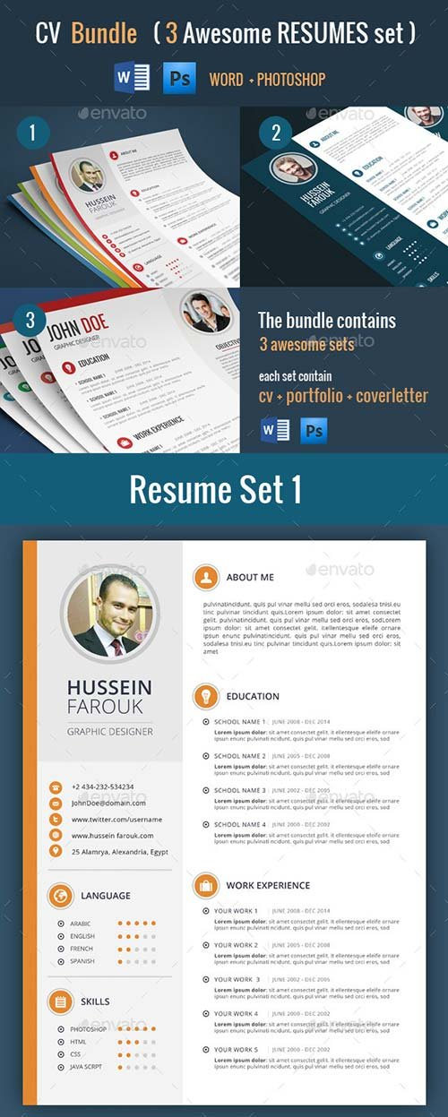 GraphicRiver Cv Bundle (3 Resume Sets)