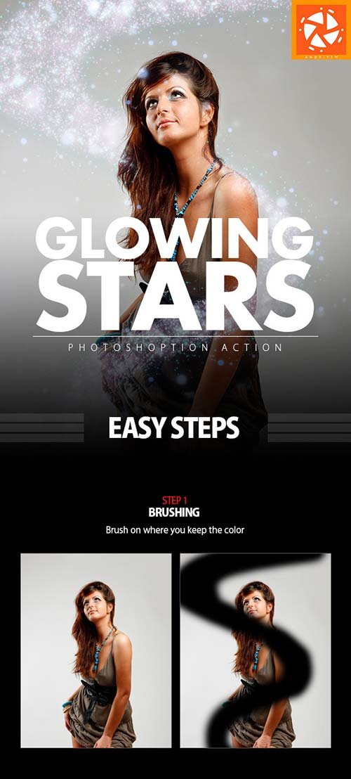 GraphicRiver Glowing Stars Photoshop Action