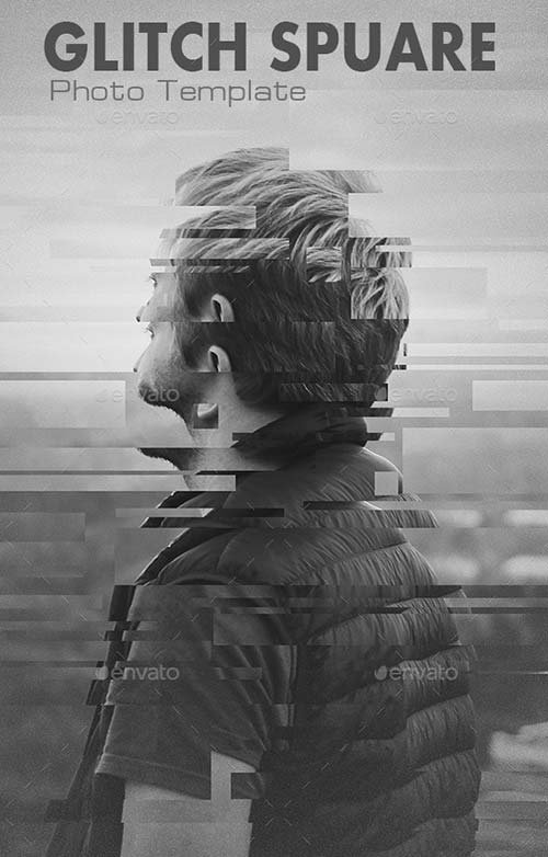 GraphicRiver Glitch Square Photo Templates