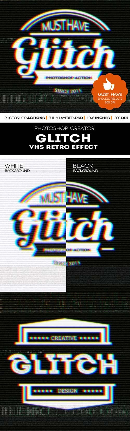GraphicRiver Glitch VHS Corrupt Image Effect Photoshop Actions