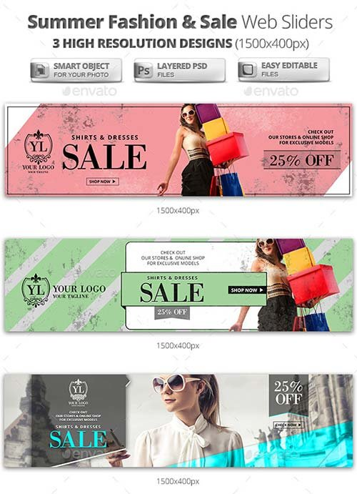 GraphicRiver Summer Sale & Fashion Web Sliders
