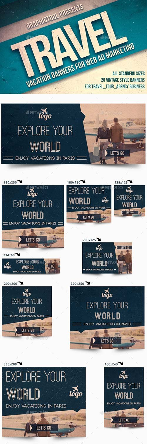 GraphicRiver Vintage Travel Web Ad Marketing Banners