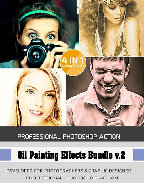 GraphicRiver 4 in 1 Oil Painting Effects Bundle vol.2