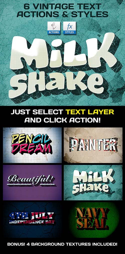 GraphicRiver Vintage Text Actions / Styles / Textures Bundle