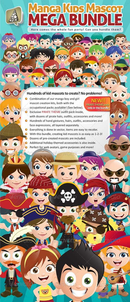 GraphicRiver Manga Kids Mascot Mega Bundle