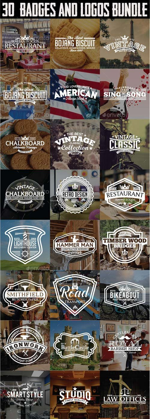 GraphicRiver 30 Badges and Logos Bundle
