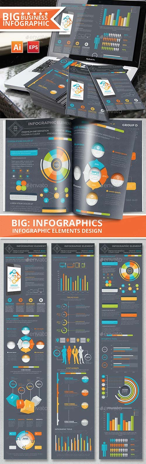 GraphicRiver Infographic Elements Design on Dark Background