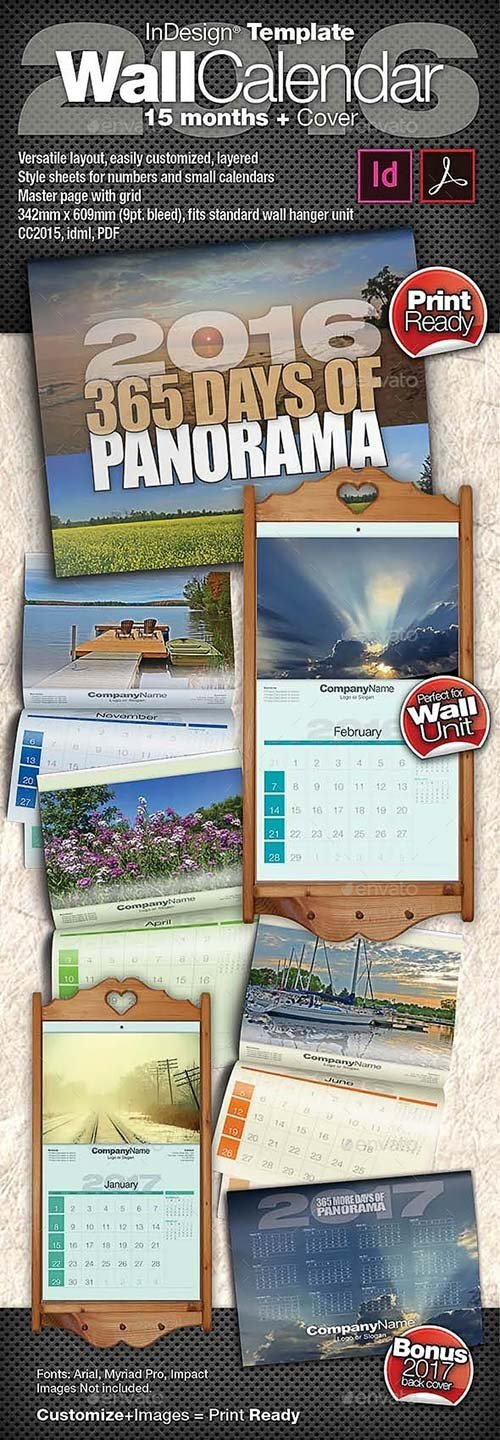 GraphicRiver 2016 Wall Calendar - 15 Months + Cover