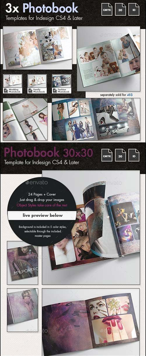 GraphicRiver 3x Photobook Album Template Bundle
