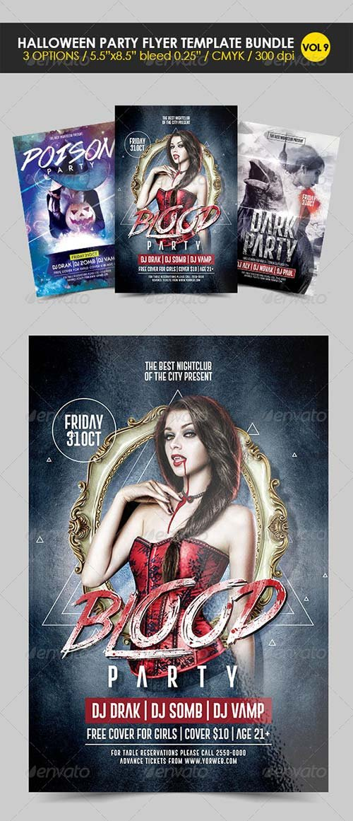 GraphicRiver Halloween Party Flyer Template Bundle Vol. 9