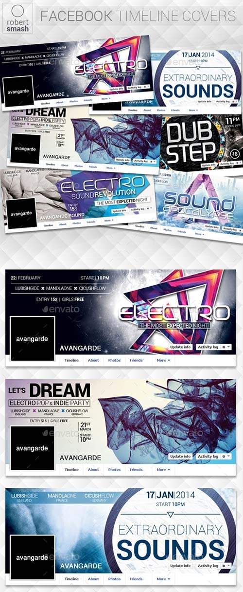 GraphicRiver 6 Music Event Facebook Timeline Covers vol.2