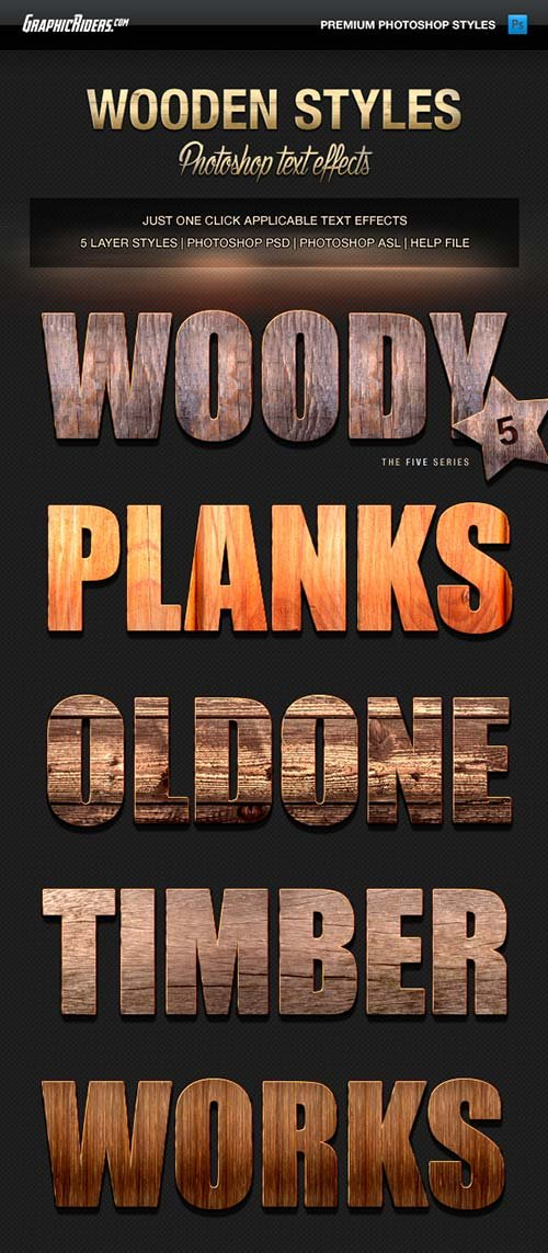 GraphicRiver Various Text Effects Vol.3 - Wooden Styles