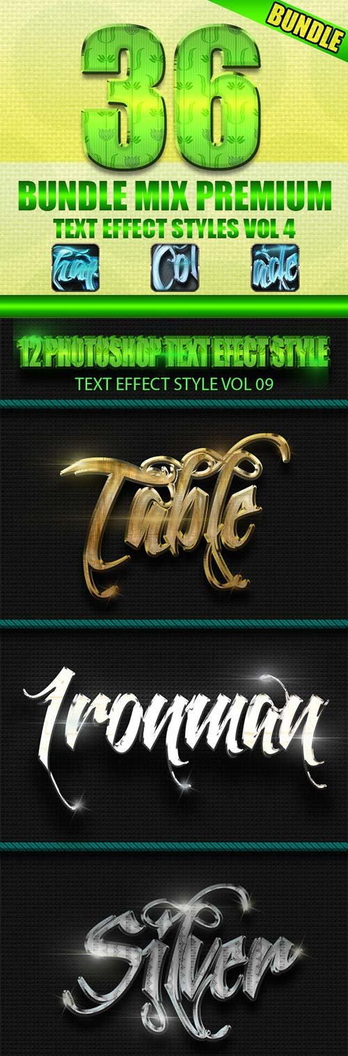 GraphicRiver 36 Bundle Mix Premium Text Effect Styles Vol 4