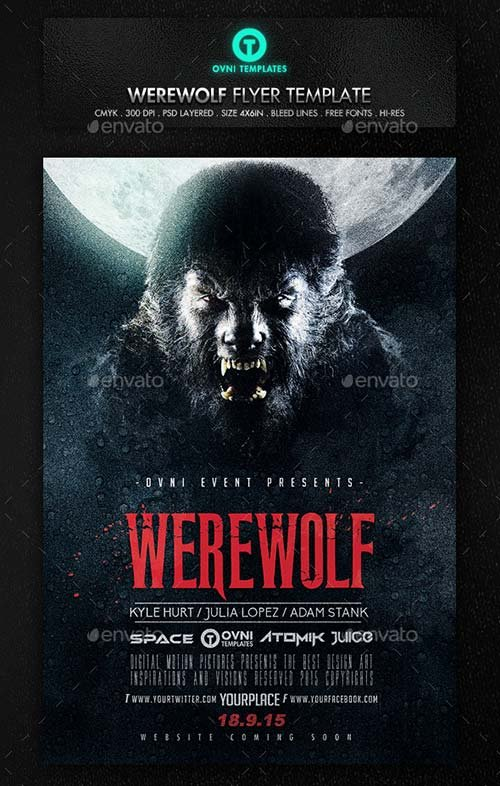 GraphicRiver Werewolf Dark Horror Movie Flyer Poster Template