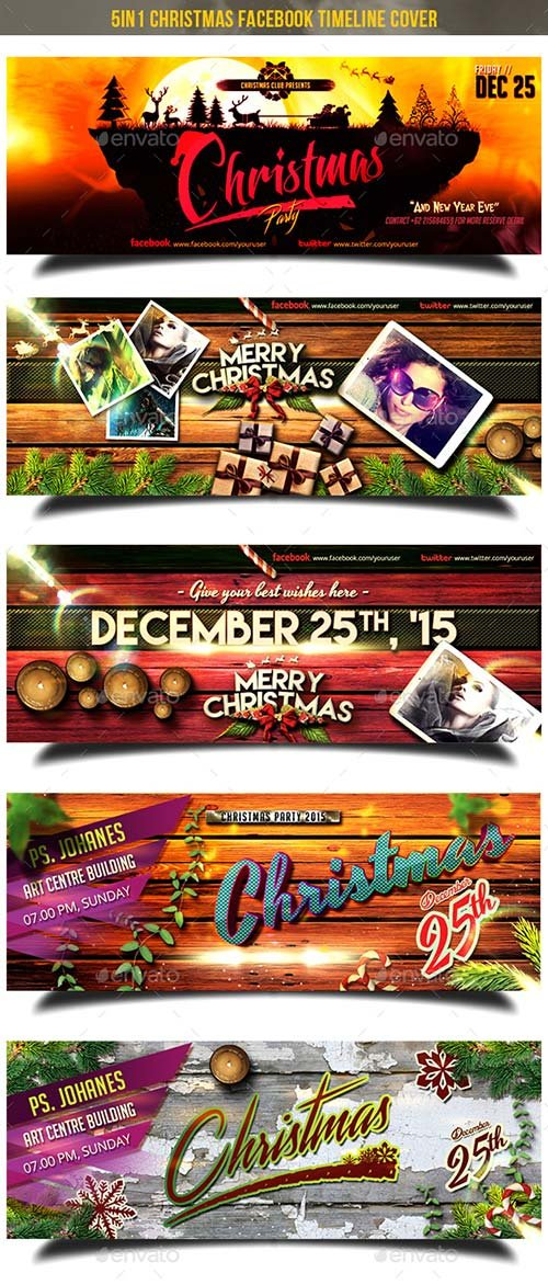 GraphicRiver 5in1 Christmas Facebook Cover