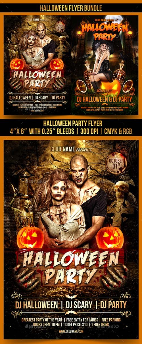 GraphicRiver Halloween Flyer Bundle 13036572