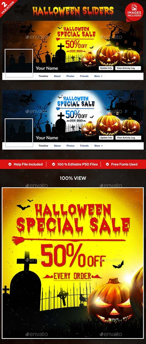 GraphicRiver Halloween Facebook Covers - 2 Designs
