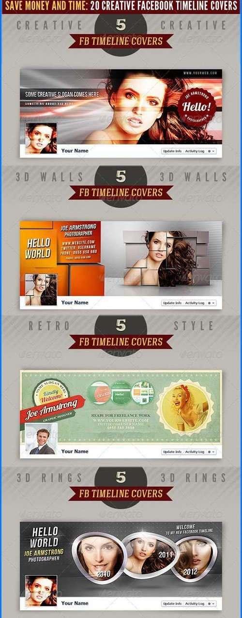 GraphicRiver 20 Facebook Timeline Covers Bundle