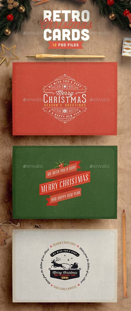 GraphicRiver Retro / Vintage Christmas Card Pack