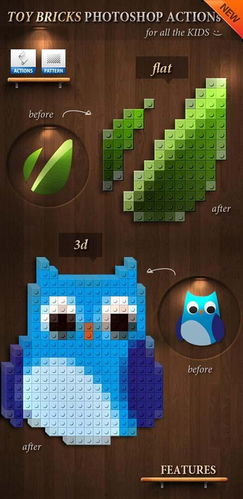 GraphicRiver 3D Toy Bricks Photoshop Actions