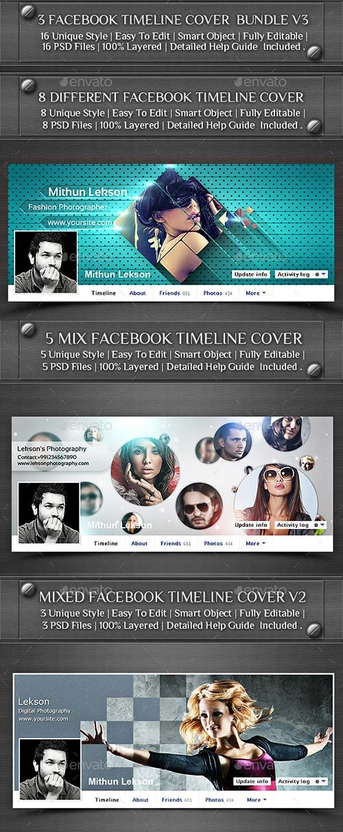 GraphicRiver 3 Facebook Timeline Cover Bundle V3