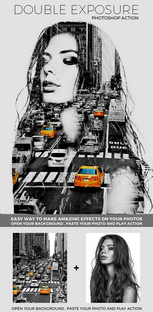 GraphicRiver Double Exposure - Photoshop Action 13600278