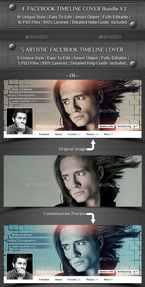 GraphicRiver 4 Facebook Timeline Cover Bundle V2
