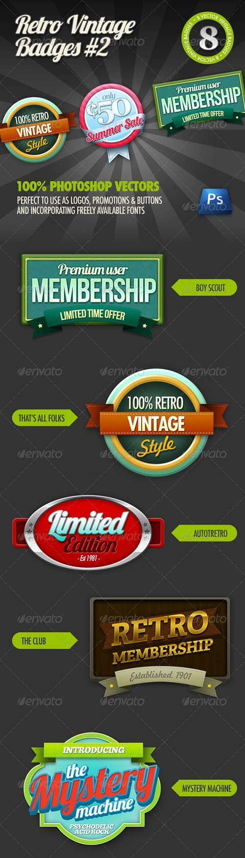GraphicRiver 8 Retro Vintage badges #2