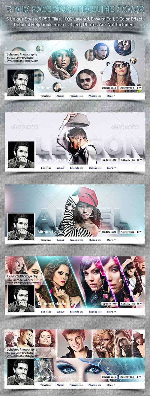 GraphicRiver 5 Mix Facebook Timeline Cover