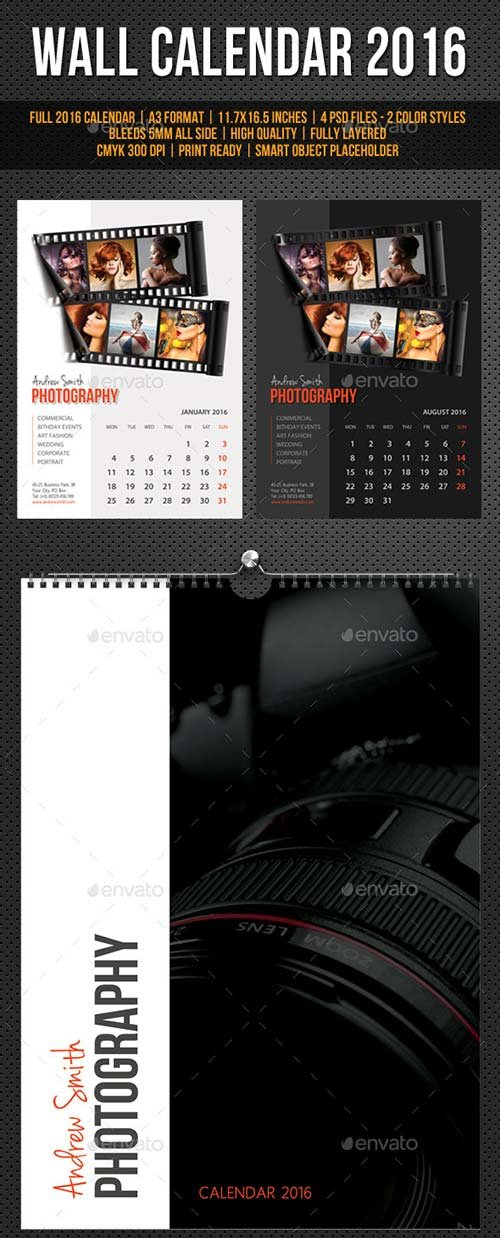 GraphicRiver Wall Calendar A3 2016 V18