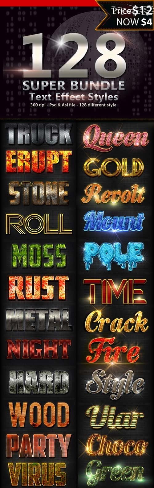 GraphicRiver 128 Super Bundle Text Styles
