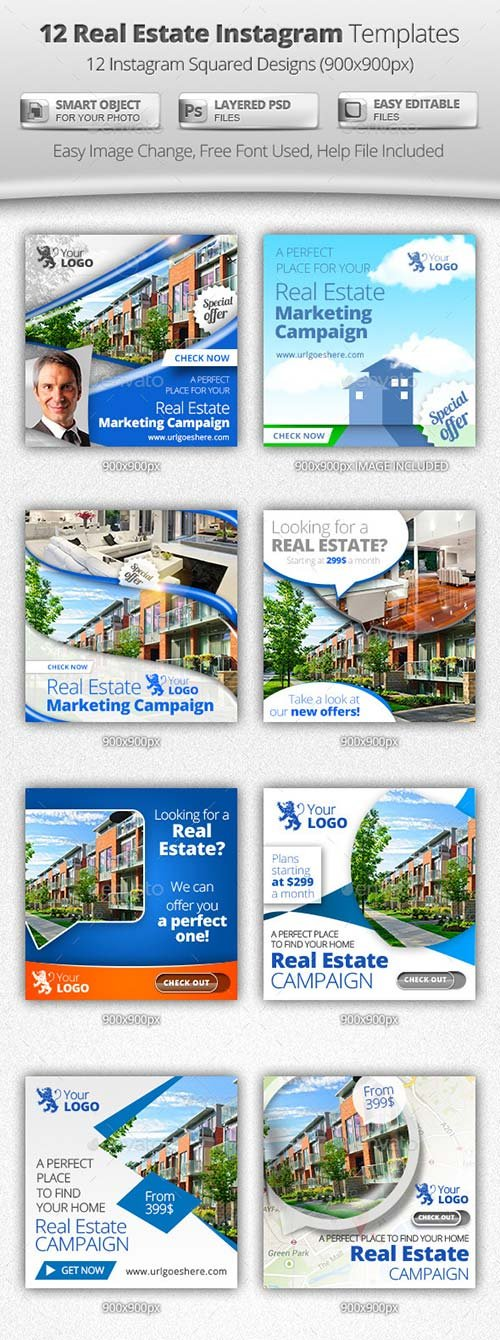 GraphicRiver 12 Real Estate Instagram Templates