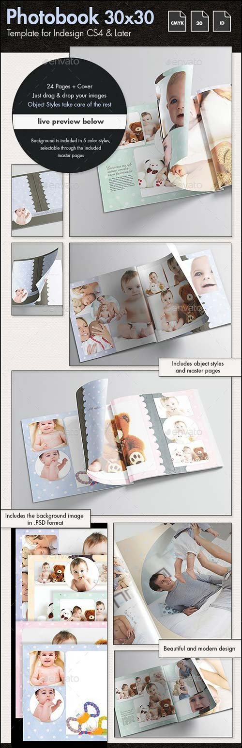 GraphicRiver Photobook Family Memories Album Template - 30x30cm