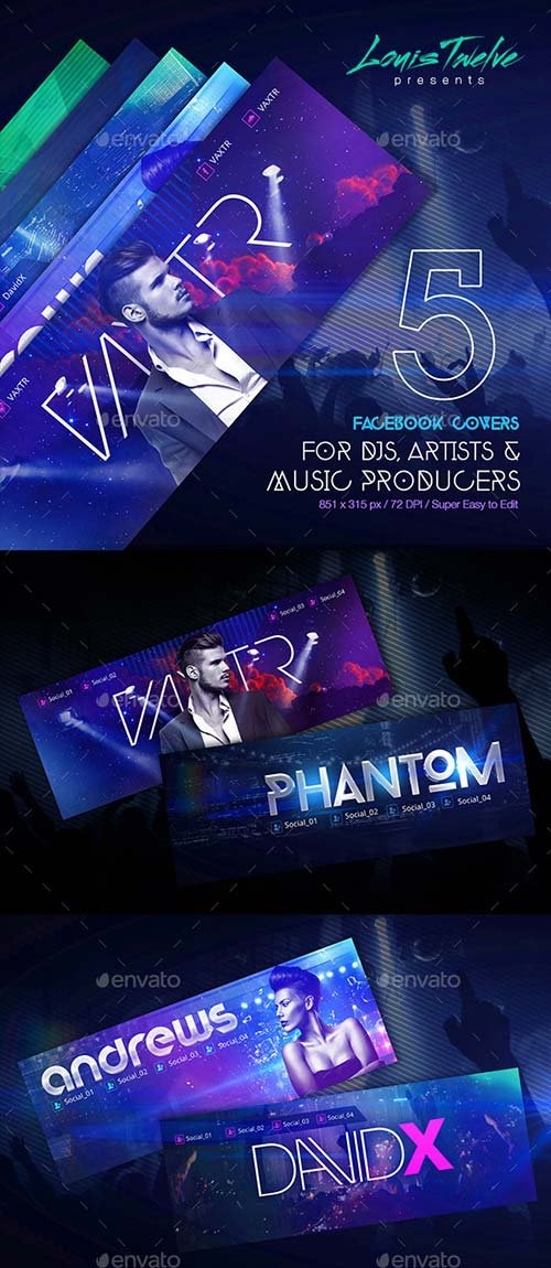 GraphicRiver 5 Dj's Facebook Covers Vol2