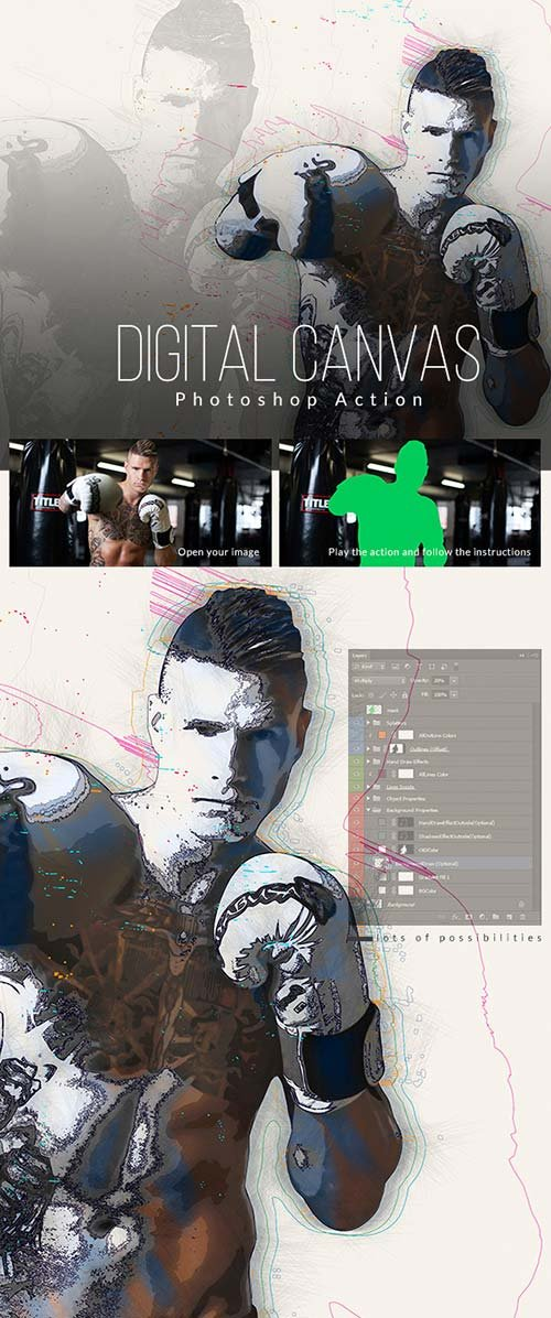 GraphicRiver Digital Canvas Photoshop Action