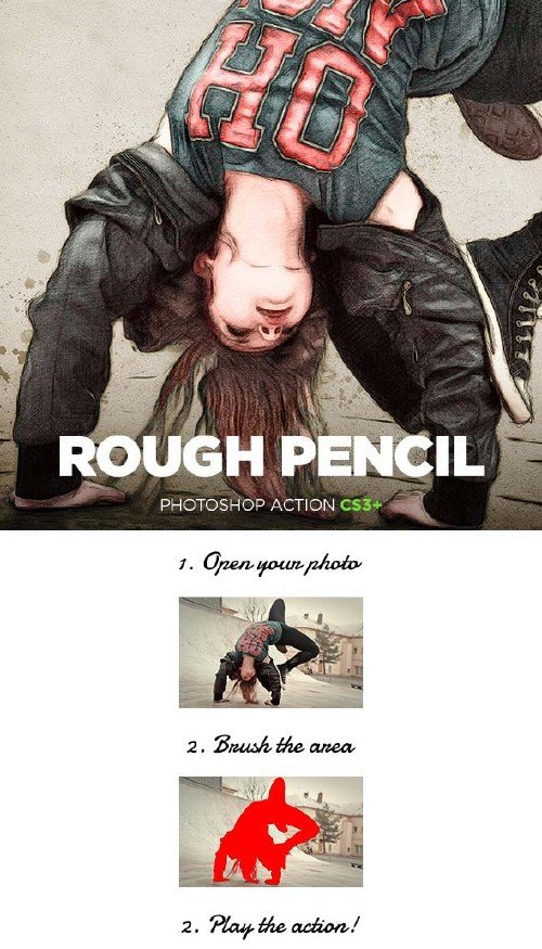 GraphicRiver Rough Pencil Sketch Photoshop Action CS3+
