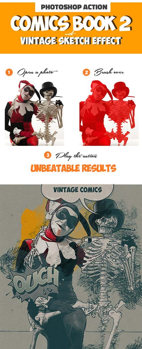 GraphicRiver Vintage Comics with Sketch Effect Photoshop Creator