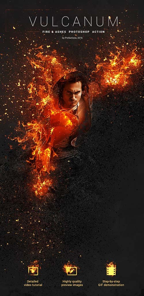 GraphicRiver Vulcanum - Fire & Ashes Photoshop Action