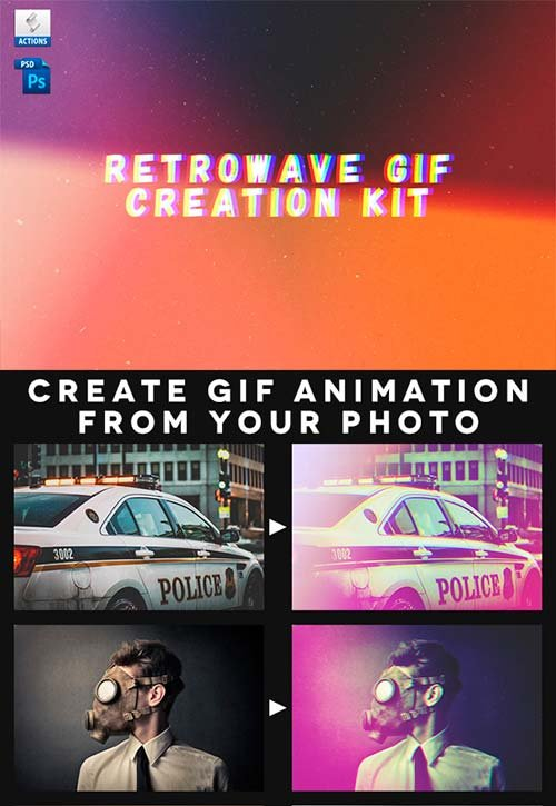 GraphicRiver Retrowave Gif Creation Action