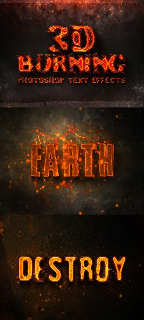 GraphicRiver 3D Burning Photoshop Text Effects