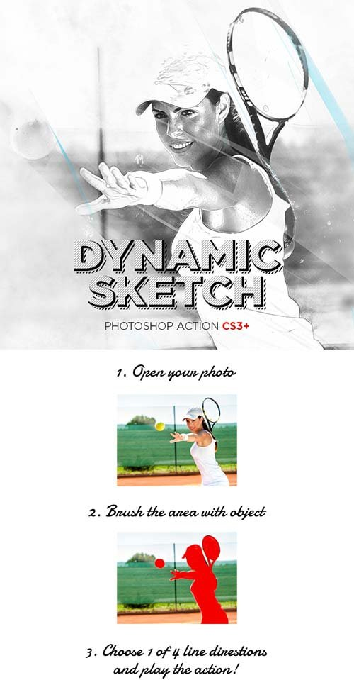 GraphicRiver Dynamic Sketch Photoshop Action CS3+