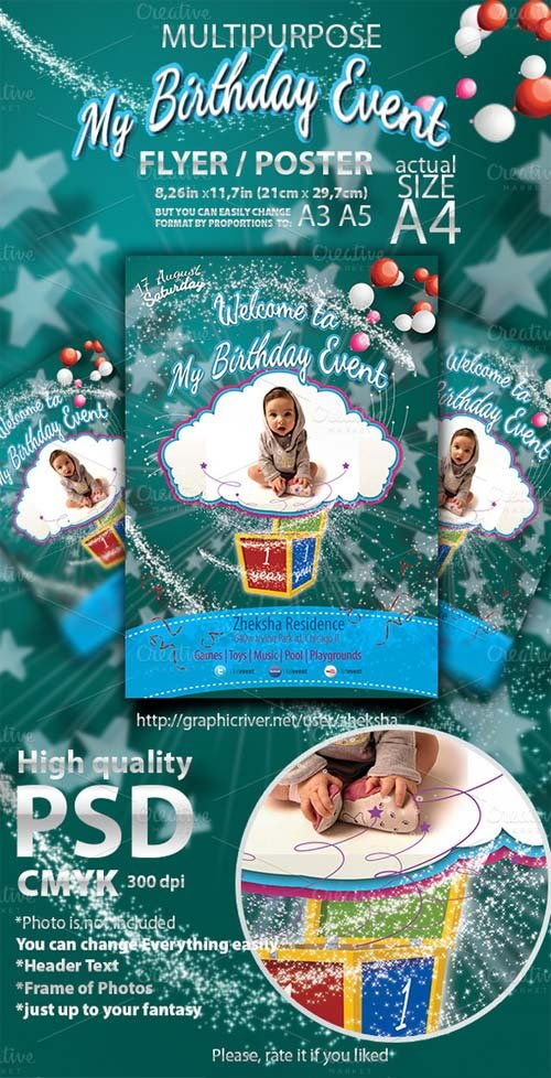 CreativeMarket Kid Birthday Event Flyer