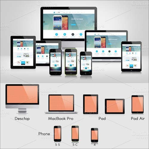 CreativeMarket Responsive Screen Mockups
