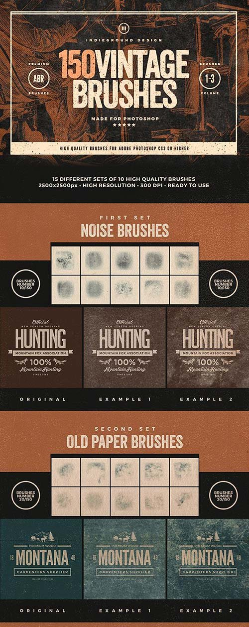 GraphicRiver 150 Vintage Brushes Bundle