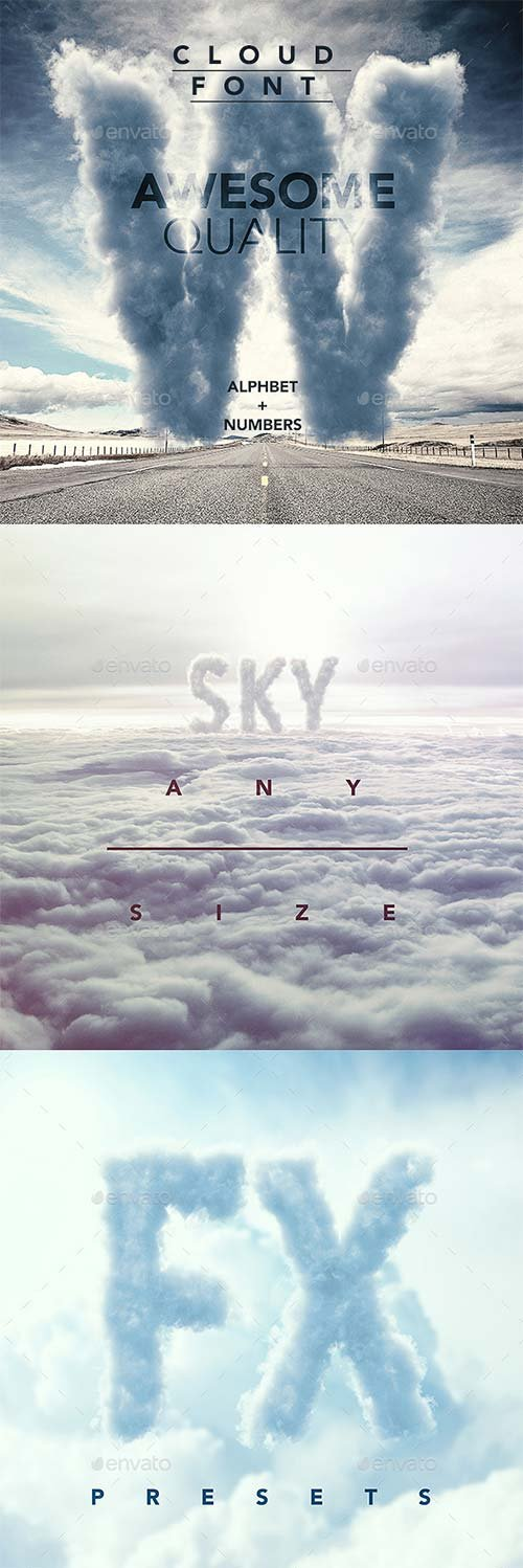 GraphicRiver 3D Sky / Cloud font mock up