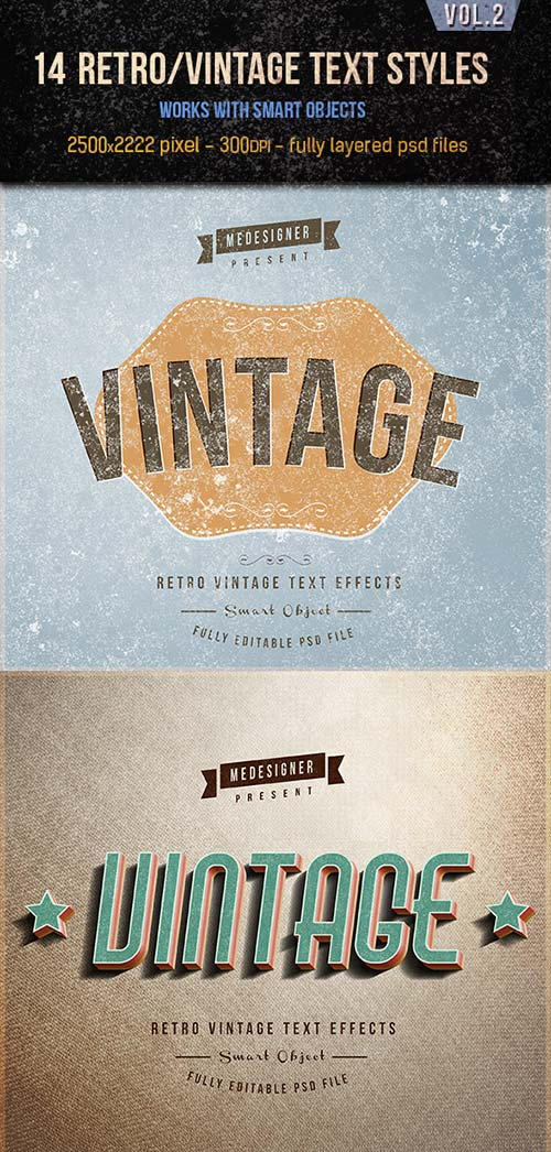 GraphicRiver 14 Retro / Vintage Text Effects V.2
