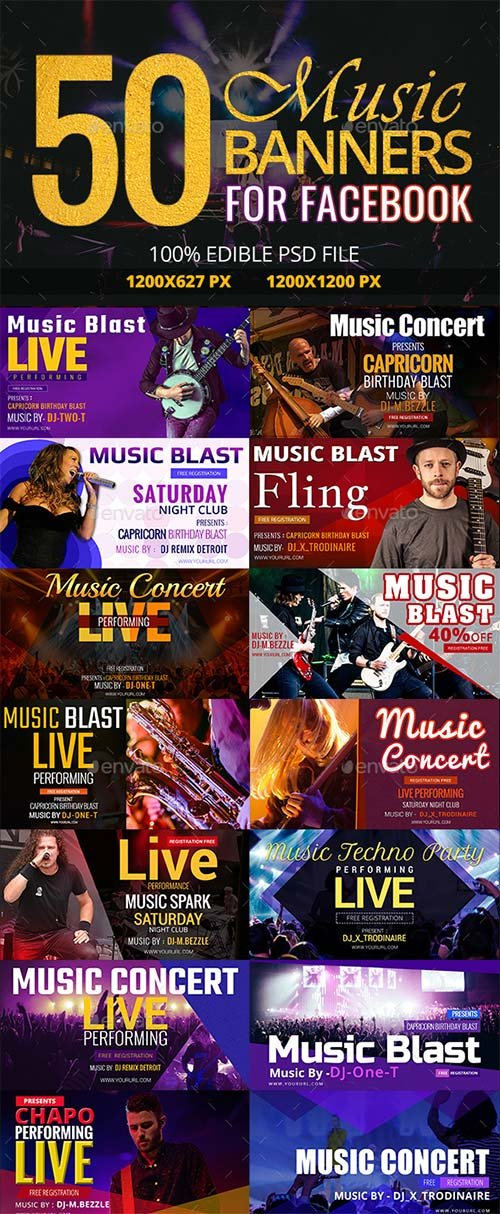 GraphicRiver 50 Music Facebook Banners